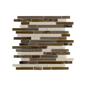 Upscale Designs Random Sized Glass and Natural Stone Mosaic Tile in Taupe and Dark Brown