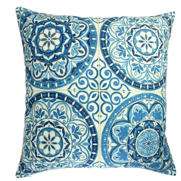 Galien Modern Spanish Moroccan Wheel Circles in Indigo Indoor/Outdoor Throw Pillow (Set of 2) by Bungalow Rose
