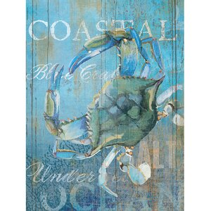 Crab and Sea Crop by Ali Zoe Painting Print on Wrapped Canvas by Portfolio Canvas Decor