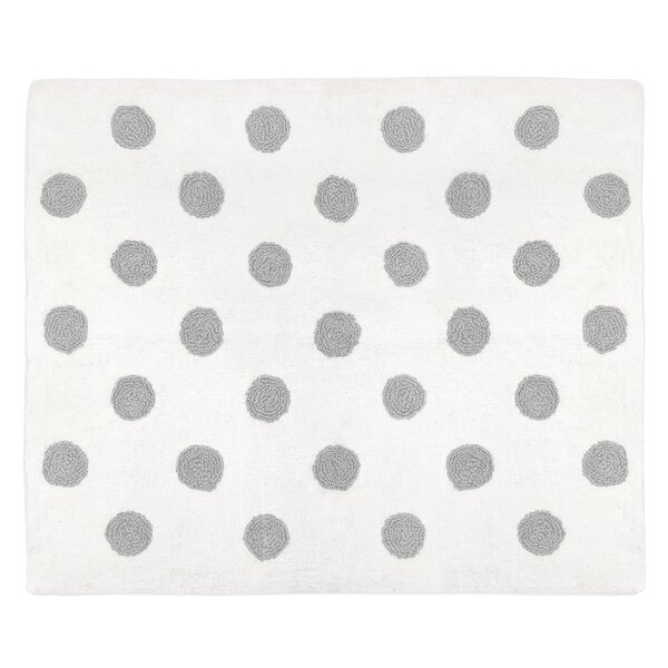 Watercolor Floral Hand-Tufted Cotton White/Gray Area Rug by Sweet Jojo Designs