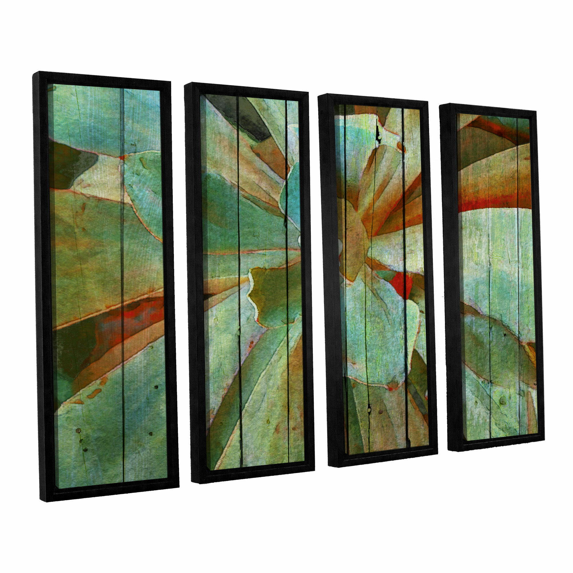 9a7caf3fd57 Bungalow Rose  Summer Succulent  4 Piece Framed Painting Print on Wrapped Canvas  Set