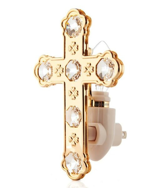 24K Gold Plated Cross Night Light by Matashi Crystal