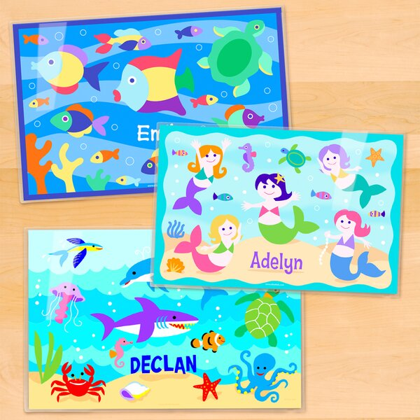 Ocean 3 Piece Girls Personalized Placemat Set by Olive Kids