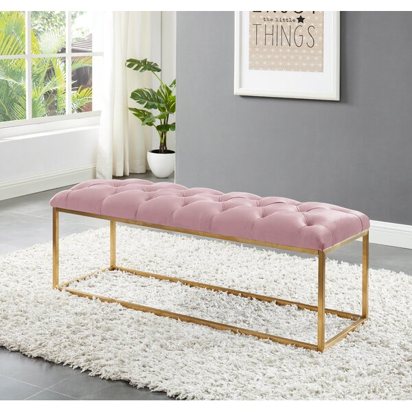 Benkelman Bench With Gold Colored Legs By Mercer41 by Mercer41 Sale