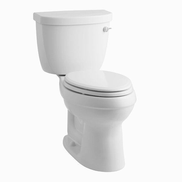 Cimarron Comfort Height Two-Piece Elongated 1.28 GPF Toilet with Aquapiston Flush Technology, Right-Hand Trip Lever and Tank Cover Locks by Kohler