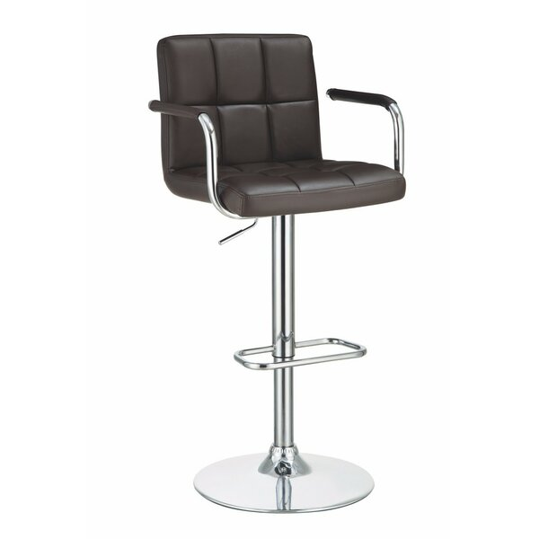 Workman Grid Adjustable Height Swivel Bar Stool by Orren Ellis