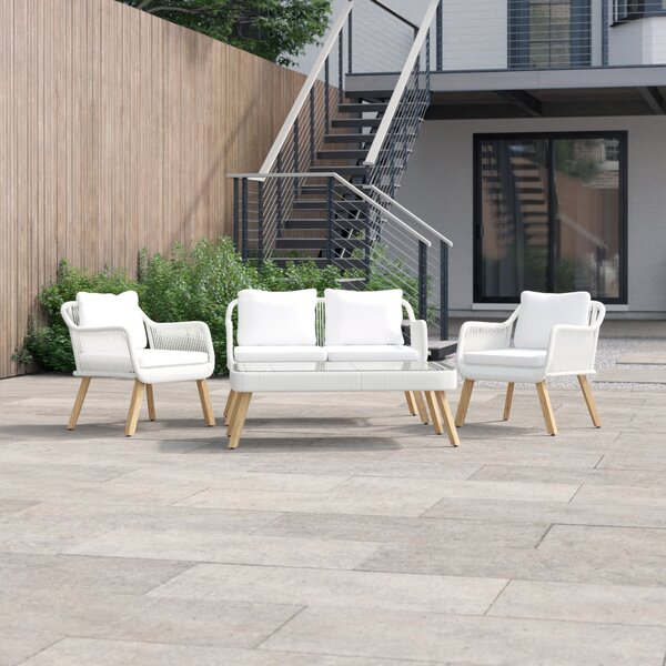 Fletcher 4 Piece Sofa Seating Group with Cushions by Foundstone