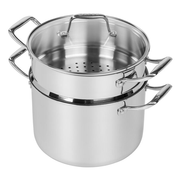 8-qt. Stock Pot with Steamer Insert and Lid by MAKER Homeware™