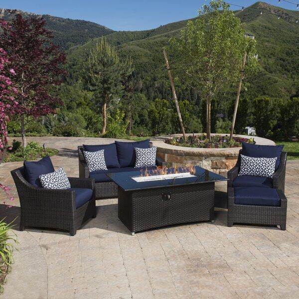Northridge 5 Piece Rattan Sofa Set with Cushions by Three Posts
