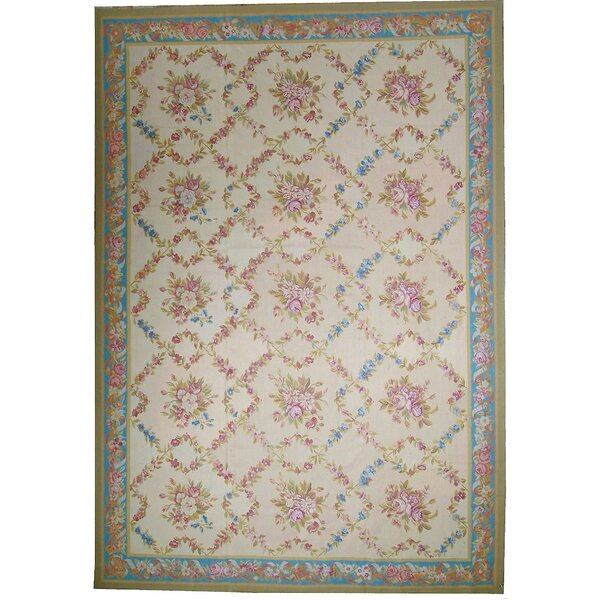 One-of-a-Kind Aubusson Hand-Woven Wool Ivory/Green/Blue Area Rug by Pasargad