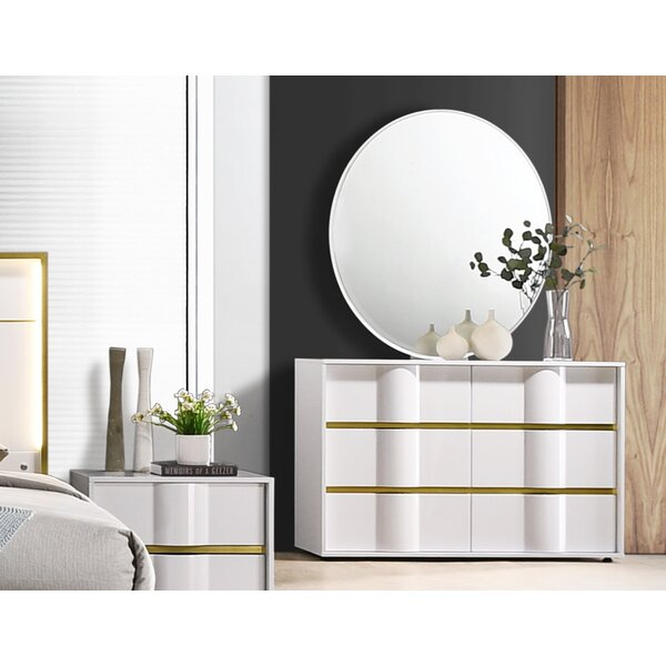 Milly 6 Drawer Double Dresser with Mirror by Orren Ellis