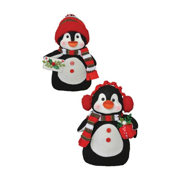 2 Piece Merry Penguins Stuffed Holiday Accent Set by The Holiday Aisle