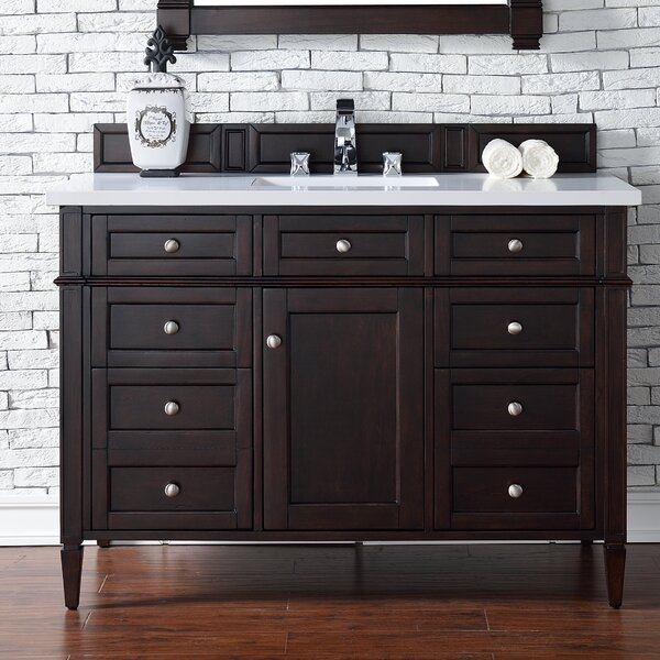 Deleon 48 Single Burnished Mahogany Quartz Top Bathroom Vanity Set by Darby Home Co