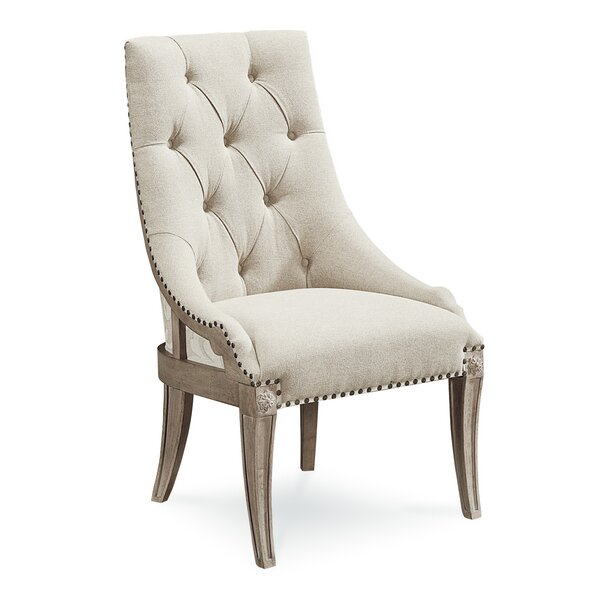 Carolin Tufted Upholstered Wingback Side Chair in Beige