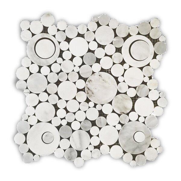 Alps Moonstone Circle 12 x 12 Marble Pebble Tile