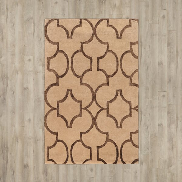 Leone Hand-Tufted Beige/Brown Area Rug by Mercer41