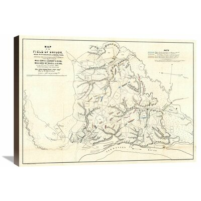 Civil War Map of The Field of Shiloh, Near Pittsburgh Landing, Tennessee, 1862 by Otto H. Matz Graphic Art on Wrapped Canvas Global Gallery Size: 22 -  GCS-295148-30-144