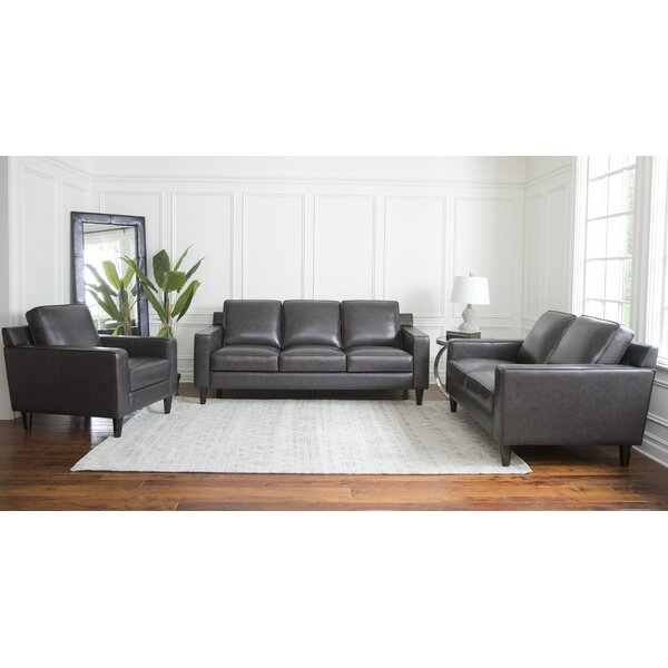 Nalston 3 Piece Leather Living Room Set by Three Posts