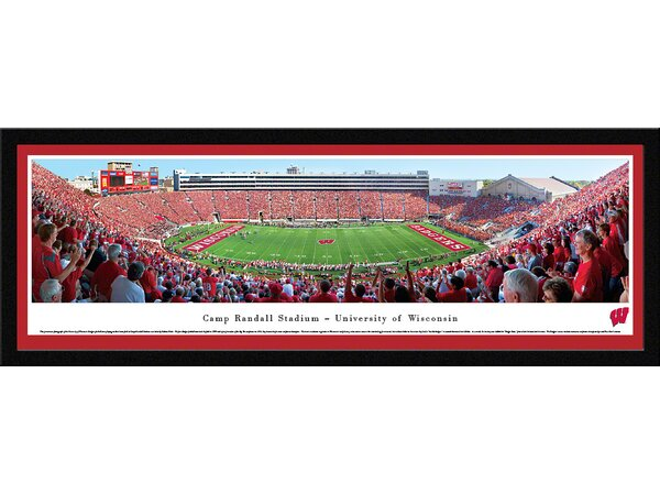 NCAA Wisconsin, University of - Football - 50 Yard Line by Nathan Haler Framed Photographic Print by Blakeway Worldwide Panoramas, Inc