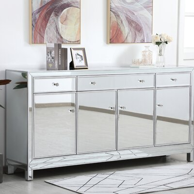 """Everly Quinn Rosendahl 72"""" Wide 3 Drawer Credenza  Color: Silver"""