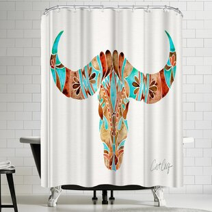 Water Buffalo Skull Turquoise And Brown Shower Curtain