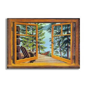 'Cabin And Lake Faux Window Scene' Oil Painting Print by Loon Peak