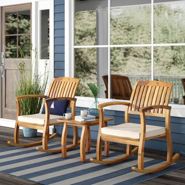 Coyne Acacia 3 Piece Teak Seating Group with Cushions by Beachcrest Home