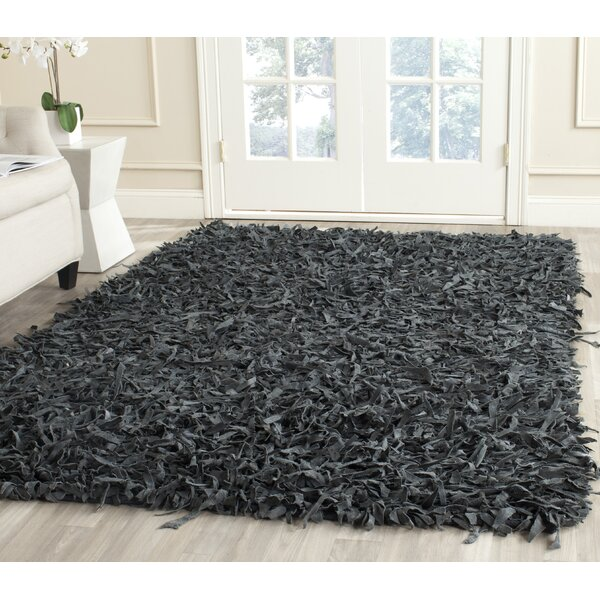 Carrol Leather Shag Grey Rug by Zipcode Design