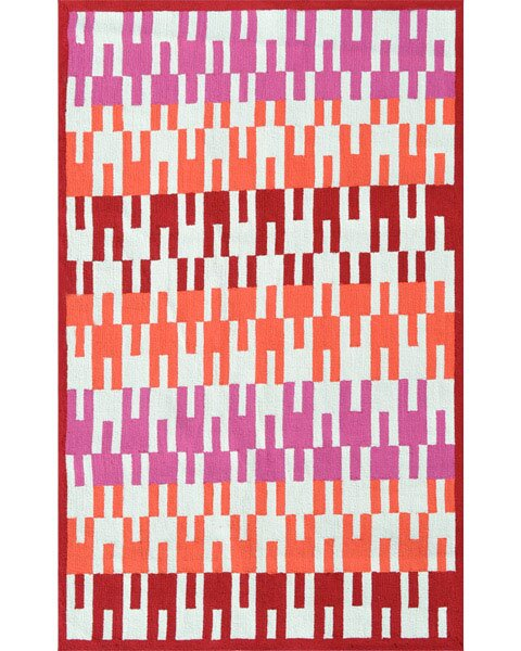 Deanna Hand-Hooked Red Indoor/Outdoor Area Rug by Threadbind
