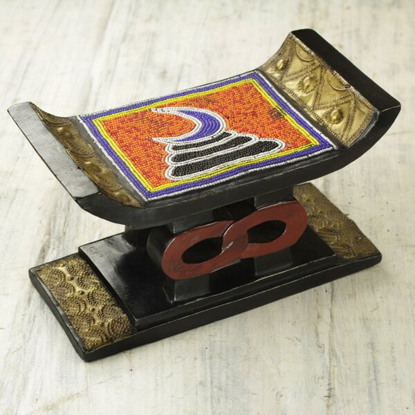 Colebrook Adinkra Vigilance Recycled Beaded Wood Accent Stool by Bloomsbury Market