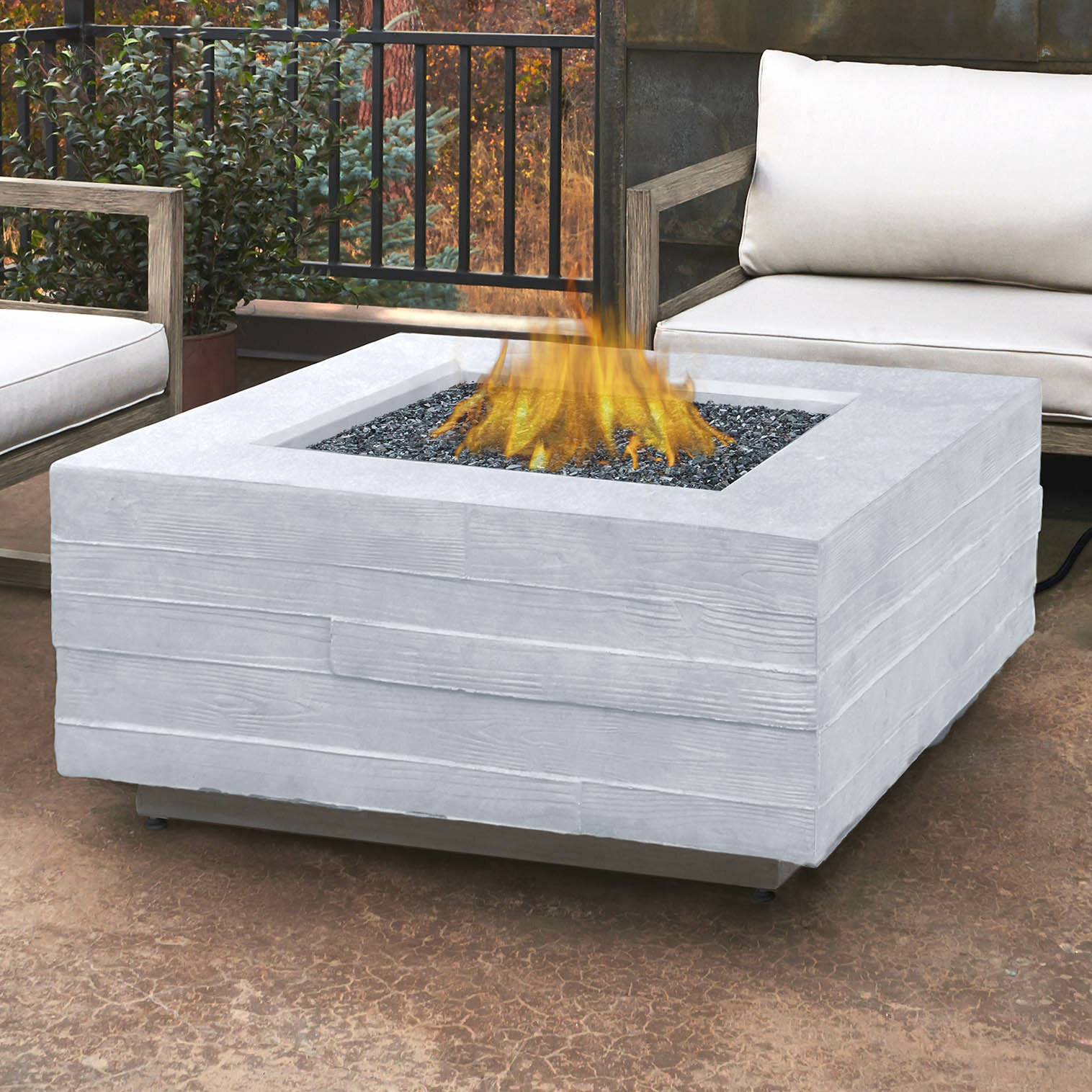 Real flame board form concrete propane fire pit table wayfair