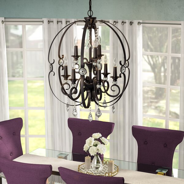 Hardouin 9 - Light Candle Style Tiered Chandelier With Crystal Accents By Willa Arlo Interiors