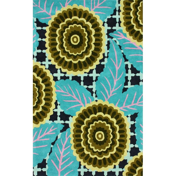 Fancy Hand-Tufted Wool Turquoise Area Rug by nuLOOM