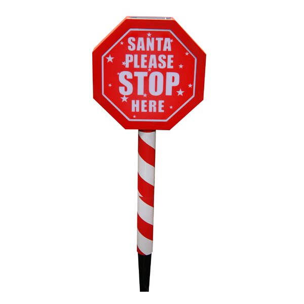 Solar Santa Please Stop Here Sign Garden Stake with LED by Woodland Imports