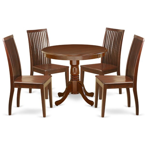 Benita 5 Piece Solid Wood Dining Set by Alcott Hill Alcott Hill