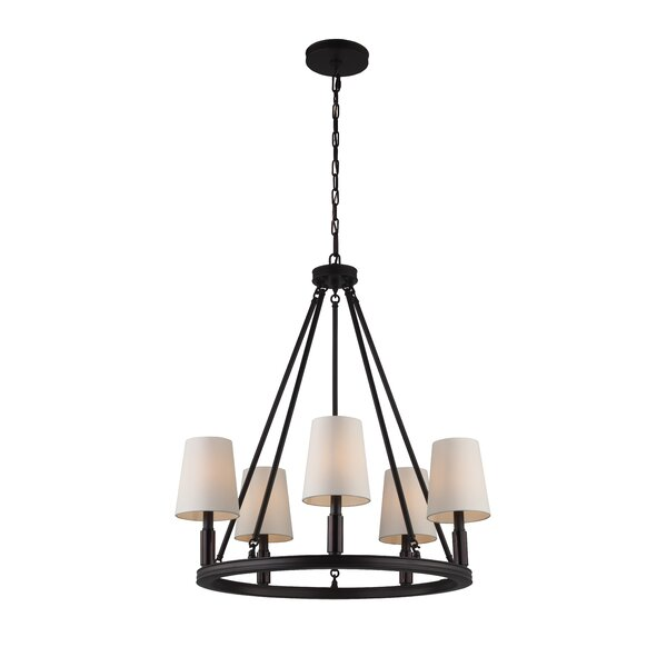 Holbrook 5 - Light Shaded Wagon Wheel Chandelier by Red Barrel Studio Red Barrel Studio