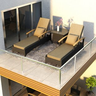 Arbor Teak Chaise Lounge with Cushion and Table By Harmonia Living