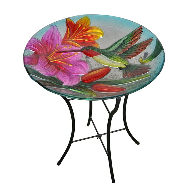 Outdoor Hand Painted Hummingbird Glass Birdbath by Peaktop
