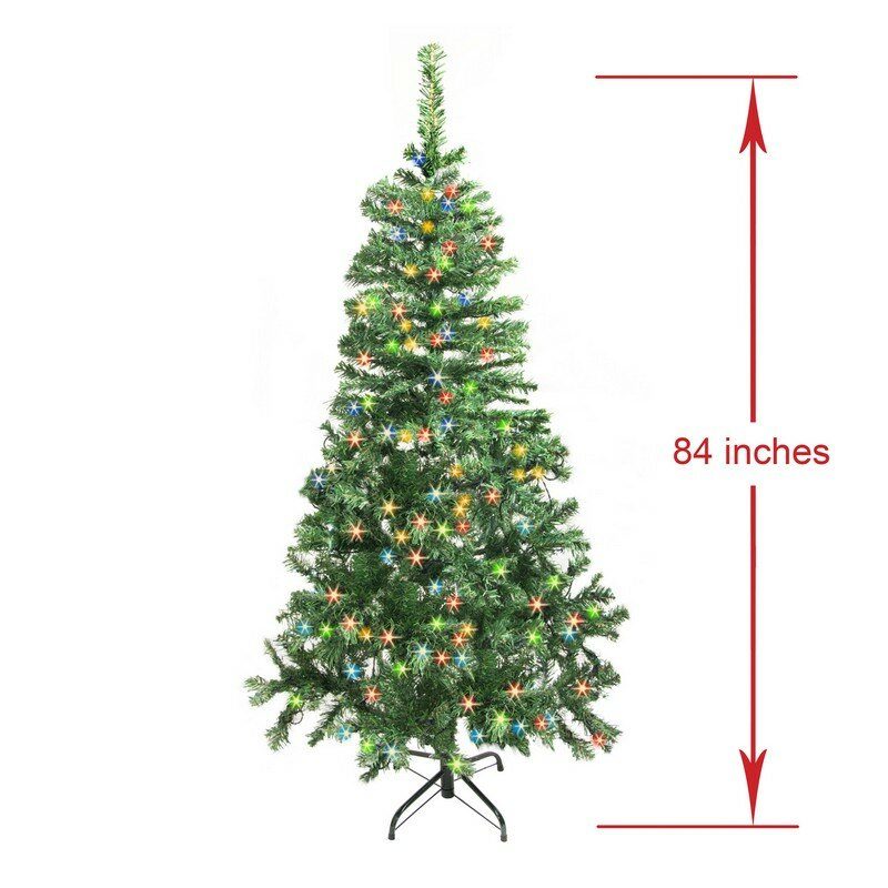 7 green pine trees artificial christmas tree with 250 led multi colored lights with