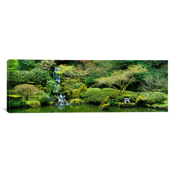 Panoramic Waterfall in a Garden, Japanese Garden, Washington Park, Portland, Oregon Photographic Print on Wrapped Canvas by iCanvas