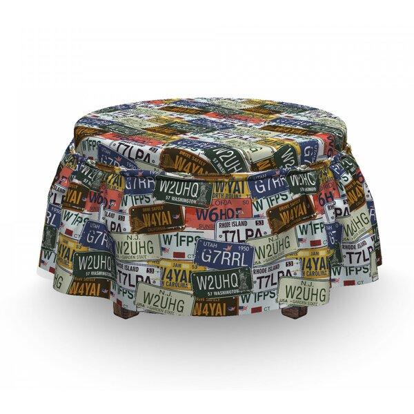 Usa Retro Auto License Plates 2 Piece Box Cushion Ottoman Slipcover Set By East Urban Home