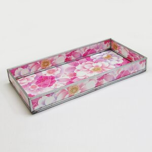 Sansbury Floral Print Decorative Glass Serving Tray (Set of 6)