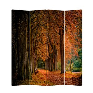 71 x 69 Double Sided Painted Canvas 4 Panel Room Divider