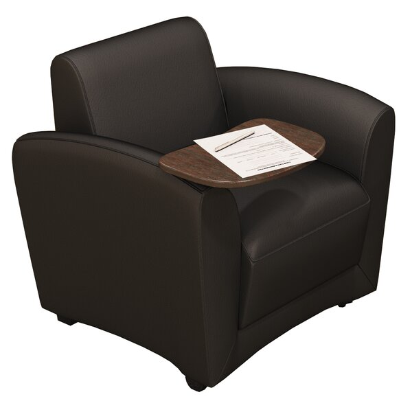 Leather Lounge Series Santa Cruz Mobile Leather Lounge Chair with Tablet by Mayline Group