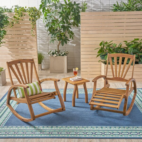 Maddox Outdoor Rustic 3 Piece Seating Group by Bay Isle Home
