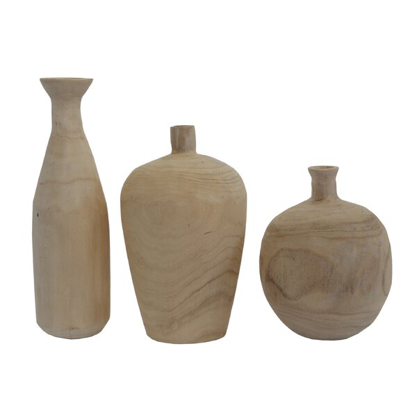 Pure 3 Piece Paulownia Wood Table Vase Set by Creative Co-Op