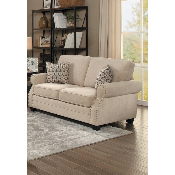 Severus Transitional Nail Head Accented Cushioned Loveseat by Alcott Hill