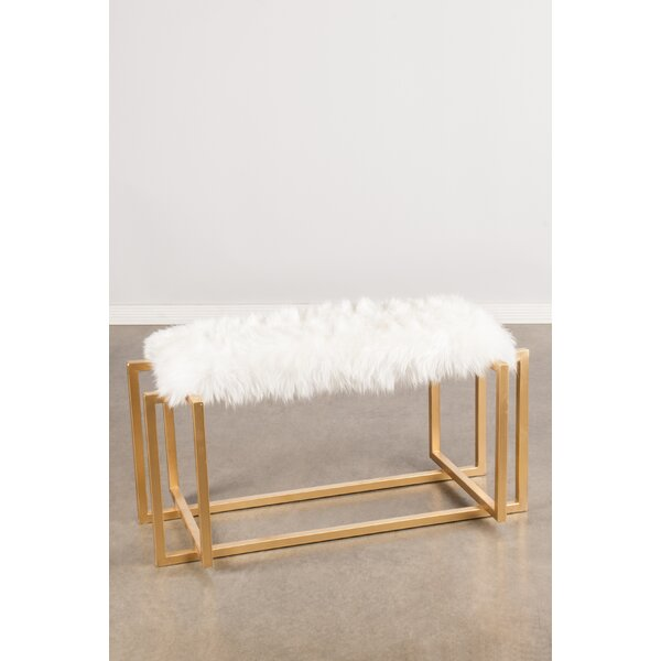 Logan Sheepksin Metal Bench by Statements by J