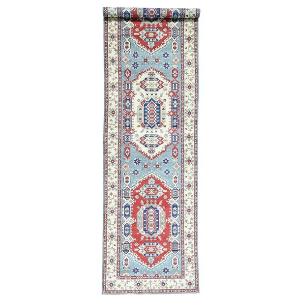 One-of-a-Kind Tillett Hand-Knotted Sky Blue Area Rug by Millwood Pines