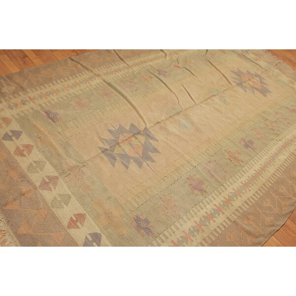 One-of-a-Kind Rackers Kilim Hand-Woven Olive Green Area Rug by Bloomsbury Market